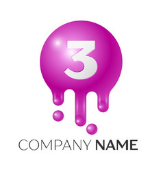 number three splash logo purple dots and bubbles vector image vector image