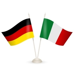 Table stand with flags of Germany and Italy vector image