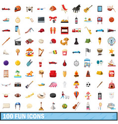 100 fun icons set cartoon style vector image vector image