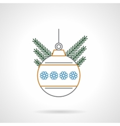 Christmas ball flat color line icon vector image vector image