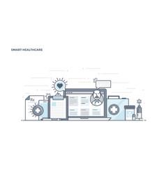 flat line design header - smart healthcare vector image vector image
