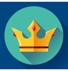 Gold crown with rubies Flat design style vector image vector image