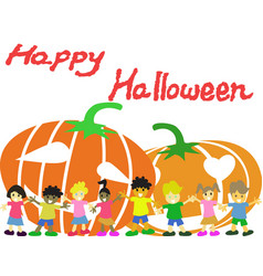 happy children and pumpkins halloween card vector image vector image
