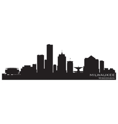 milwaukee wisconsin skyline detailed silhouette vector image