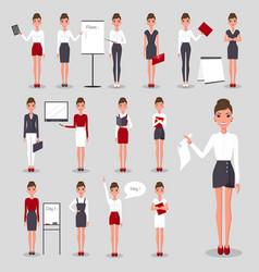modern businesswoman at work set vector image