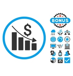 Recession Chart Flat Icon with Bonus vector image vector image
