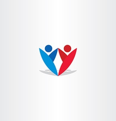 red blue people letter y logotype vector image
