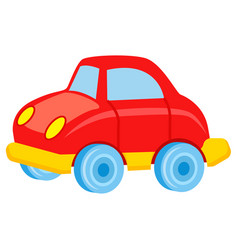 red toy car with blue wheels vector image