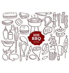Set of hand drawn BBQ doodles vector image
