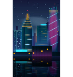 big city night landscape with skyscrapers vector image vector image