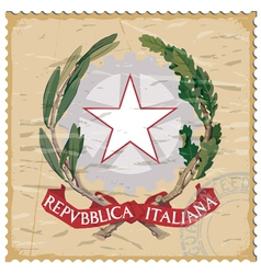 Coat of arms of italy on the old postage stamp vector