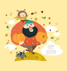 dad and his daughter with pumpkin vector image vector image