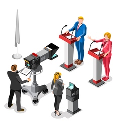 Election News Infographic Live Video Isometric vector image vector image