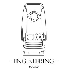 engineering logo with a theodolite vector image vector image