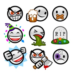 grey round smileys set four vector image vector image