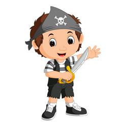 kid boy pirate cartoon vector image vector image