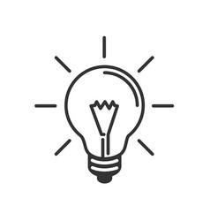 lamp idea flat icon black line white background vector image vector image