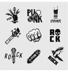rock music vintage embleme set undeground punk vector image
