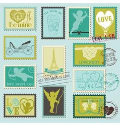 Vintage Love Valentine Stamps vector image vector image