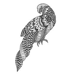 Zentangle stylized parrot vector image vector image