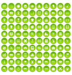 100 bus icons set green circle vector