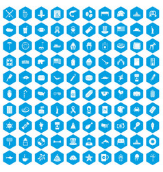 100 usa icons set blue vector