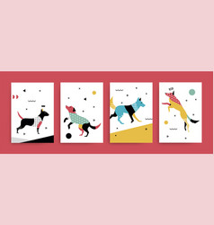 A set of cards withdogs in the memphis style vector