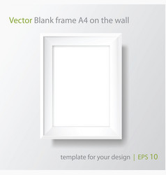 a4 blank white frame on white wall vector image