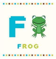 Alphabet for children letter f and a frog vector