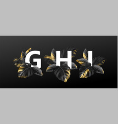 alphabet letters in black with golden exotic vector image