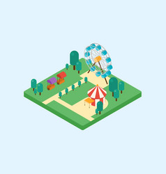 Amusement park isometric art flat design vector