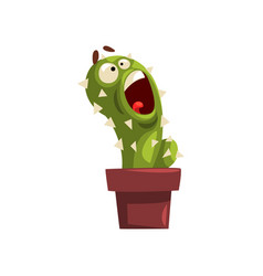Angry cactus character in a clay pot succulent vector