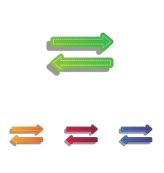 Arrow simple sign Colorfull applique icons set vector image
