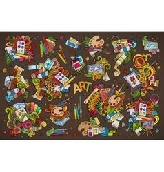 Art and paint materials doodles hand drawn symbols vector