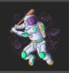 Astronaut play base ball in galaxy vector