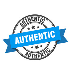 Authentic label authentic blue band sign authentic vector
