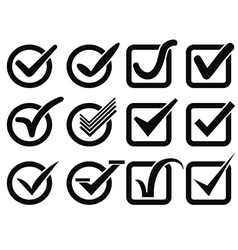 black check mark button icons vector image