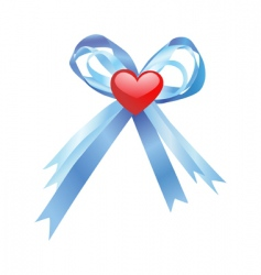 blue bow and red heart vector image
