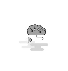 brain circuit web icon flat line filled gray icon vector image