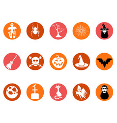 brown halloween round button icons set vector image