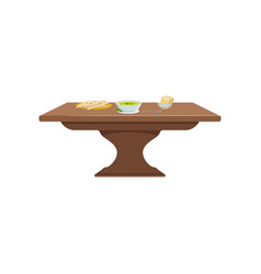 brown wooden table with soup and bread on a plate vector image