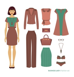 Business lady Fashion set vector image