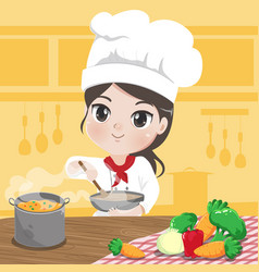 chef girl is cooking vector image