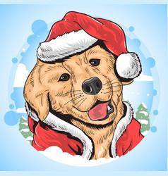 christmas dog santa claus animal vector image