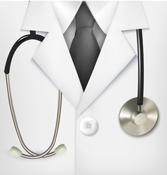 Close up a doctors lab white coat and vector