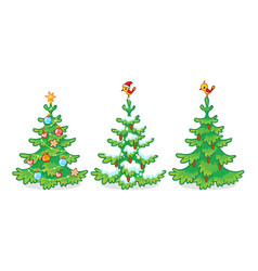 Collection three christmas trees on a white vector