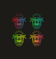Colorful gradient color aloha line art badge vector