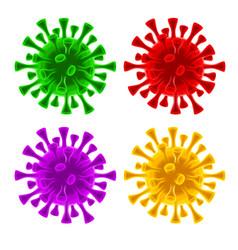 Coronavirus covid-19 virus cells set vector