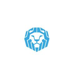 creative blue geometric lion head logo vector image