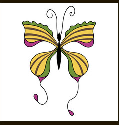 Cute cartoon butterfly isolated on white vector